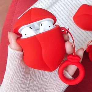 Sexy red lip Earphones case cover for Airpods 1/2
